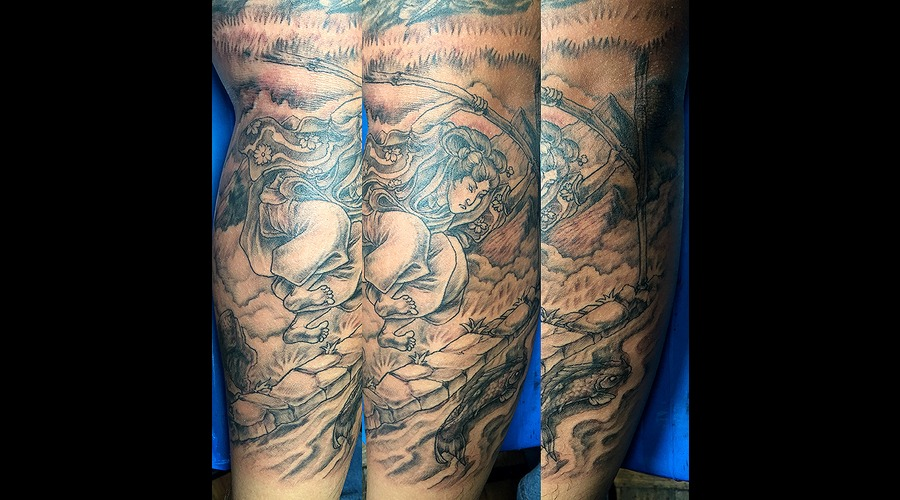 Samurai Koi Fish River Black Grey Forearm