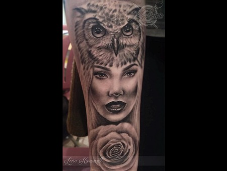 Owl  Girl  Portrait  Face  Rose  Realistic Forearm