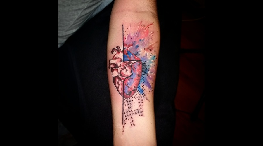 Abstract Watercolor Heart Arm