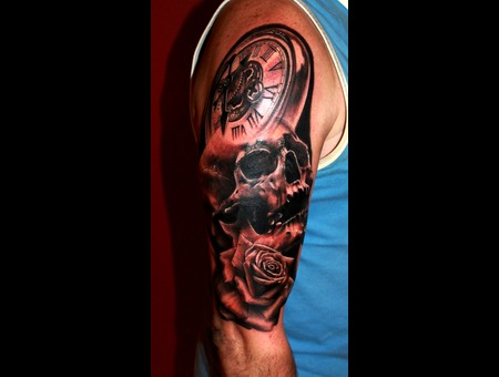 Skull  Clock  Rose  Cover Up Arm