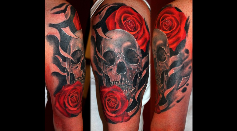 Skull  Roses  Filigree Arm