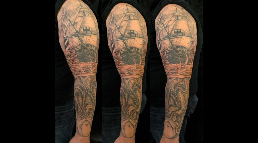 Clipper Ship  Kracken  Lighthouse  Black And Grey Black Grey Arm