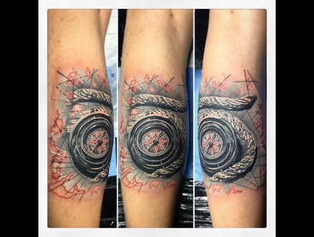 Full Grey Tattoo Compass Lower Leg