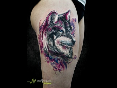 Wolf  Abstract  Watercolor Thigh