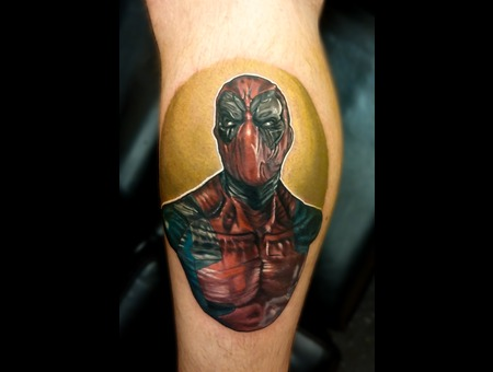 Tattoosbyhugh Panamacityfl Floridatattooartist Deadpool Lower Leg