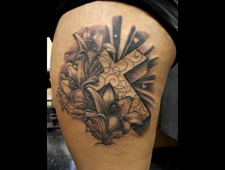 Tattoosbyhugh Panamacityfl Floridatattooartist Blackandgrey Religious Thigh