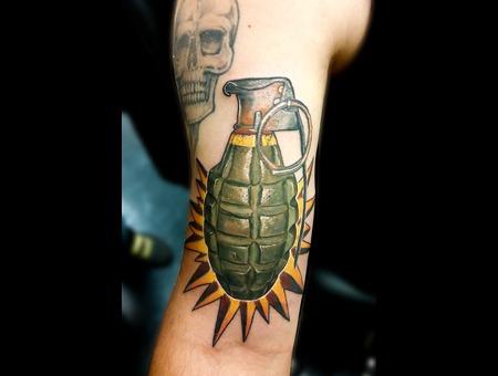 Tattoosbyhugh Panamacityfl Floridatattooartist Grenade Arm