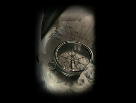 Nautical  Compass  Realism  Black And Grey    Shoulder