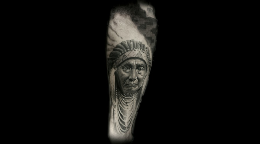 Portrait  Realism  Black And Grey  Native American    Forearm