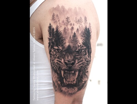 Tiger Tattoo  Double Exposure Tattoo Black Grey Arm