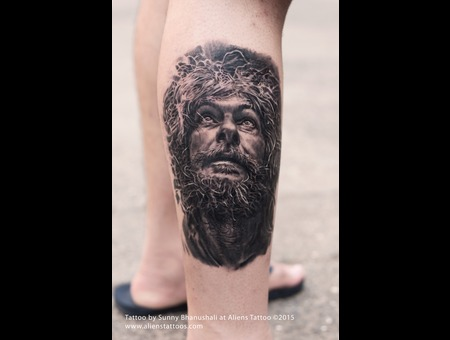 Old Man  Jesus Tattoo  Portrait Tattoo Lower Leg