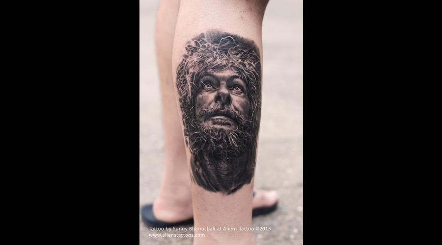 Old Man  Jesus Tattoo  Portrait Tattoo Lower Leg