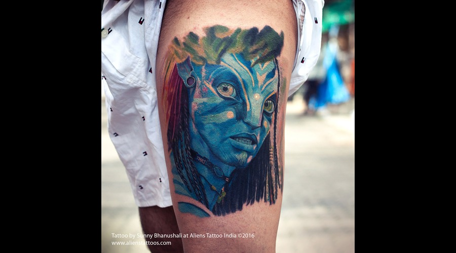 Avatar Tattoo  Colour Tattoo  Blue  Movie Tattoo Lower Leg