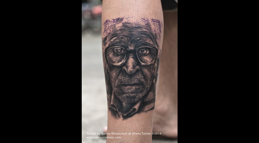 Old Man Tattoo  Realistic Tattoo Lower Leg