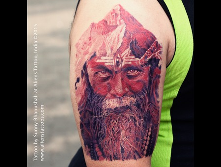 Aghori Tattoo  Shiva Tattoo  Realistic Colour Tattoo Arm