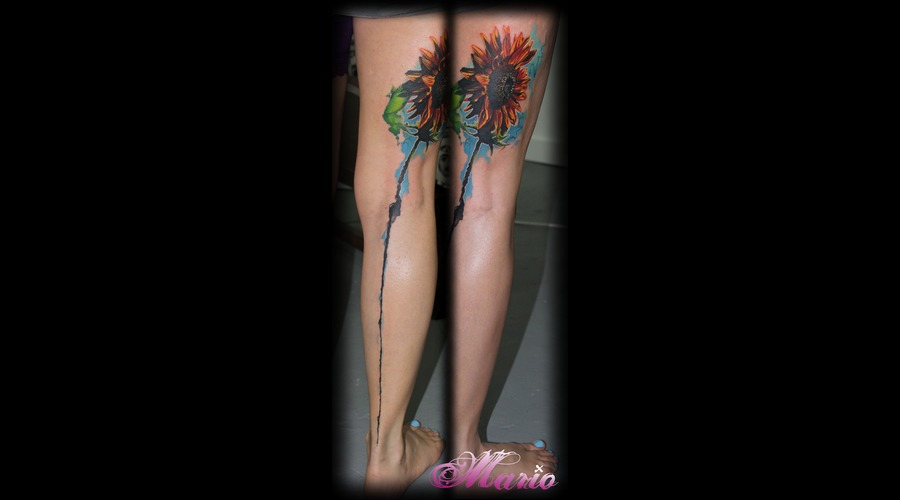 Sunflower Tattoo Color Thigh