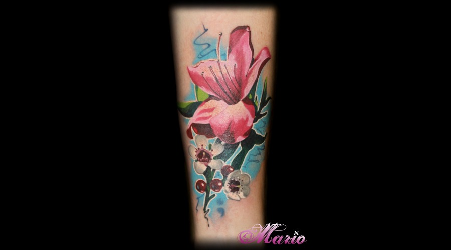 Flower Tattoo Color Forearm