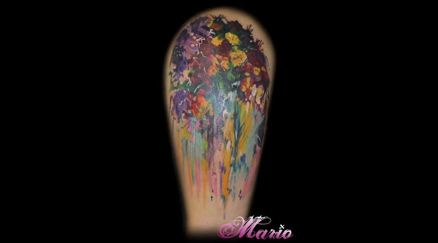 Abstract Flower Painting Color Shoulder