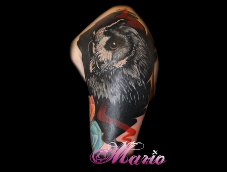 Owl Tattoo Coverup Black Grey Shoulder