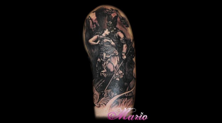 Odin And Brumhild Painting Black Grey Shoulder