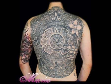 Aztec Calendar Black Grey Back