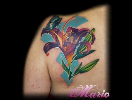 Flowertattoo Color Shoulder