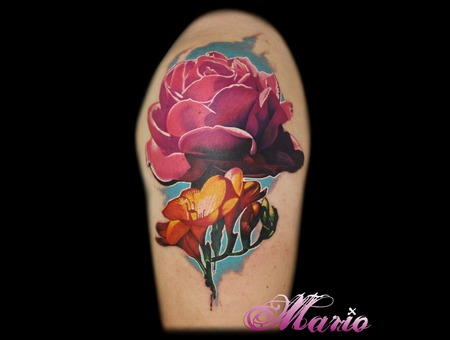 Dahlia And Freesia Flowers Color Shoulder