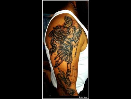 St.Michel Tattoo Sleeve  Black Grey