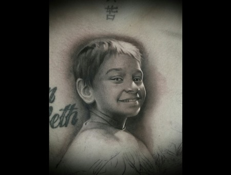 Portrait  Black And Grey  Realistic   Chest