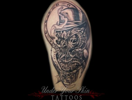 Time Clock Owl Https://Www.Facebook.Com/Under Your Skin Tattoos/ Arm