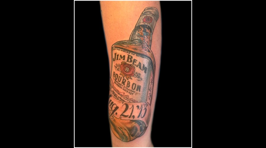 Jim  Beam  Jim Beam  Bottle  Liquor Color Forearm