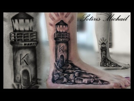 Lighthouse Rocks Realistic Black Grey Lower Leg
