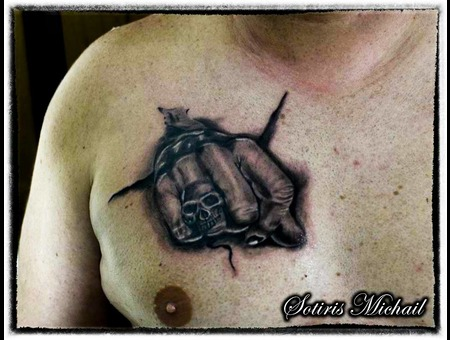 Skull Punch Realistic Black Grey Chest