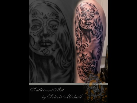 Portrait Muerte Rose Face Realistic Face Black Grey Shoulder