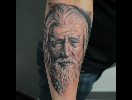 Gandalf Portrait Black Grey Forearm