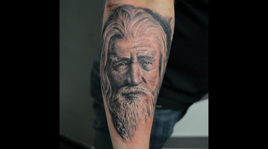 Gandalf Portrait Black Grey Forearm