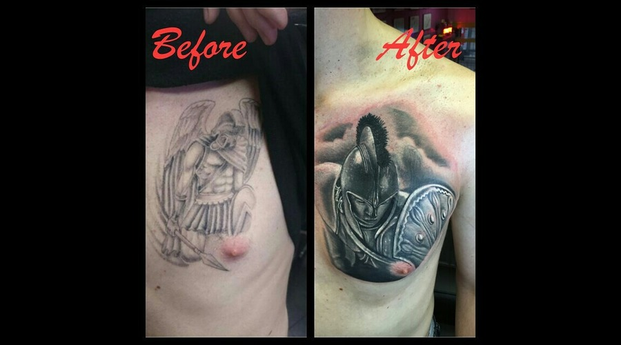 Achileos Realistic Cover Up Black Grey Chest
