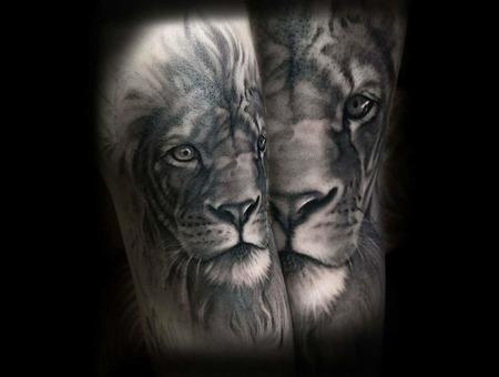 Lion  Black And Grey  Realism   Black Grey Arm