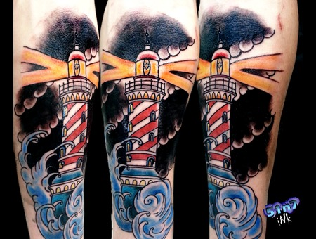 Traditional Lighthouse Color Forearm