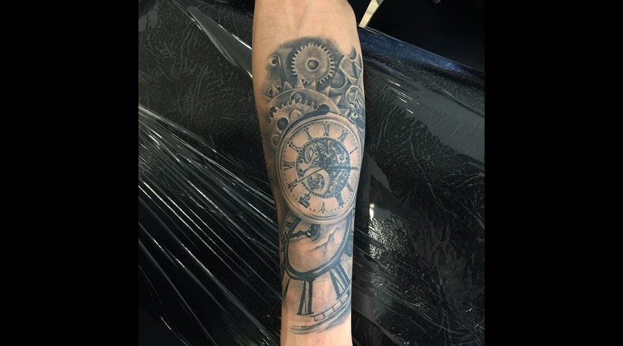 #Clocktattoos #Realistic #Realism Blackandgreytattoos Black Grey Forearm