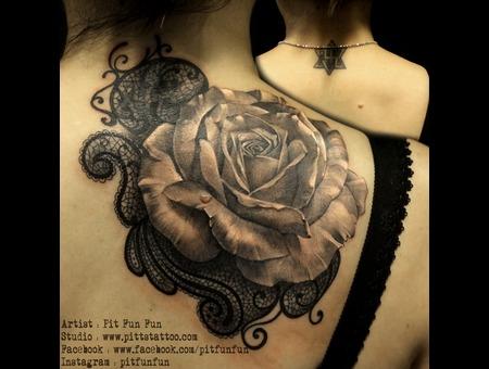 Cover Up Rose Tattoo  Black Grey Shoulder