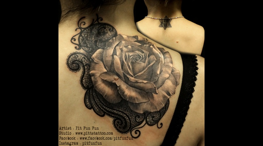 Cover Up Rose Tattoo  Black Grey Shoulder
