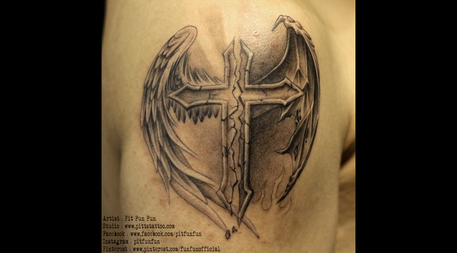Cross With Angel And Devil Wings  Black Grey Arm