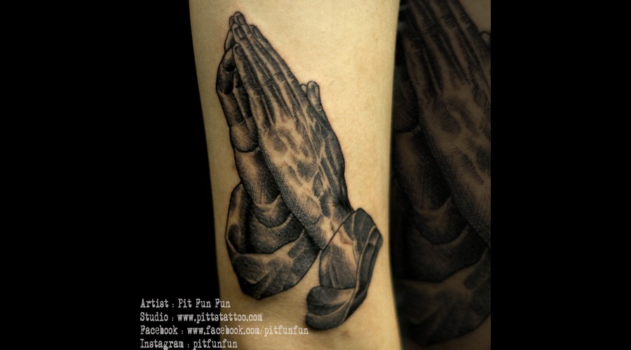 Pen Sketch Style Hand Praying Black Grey Arm