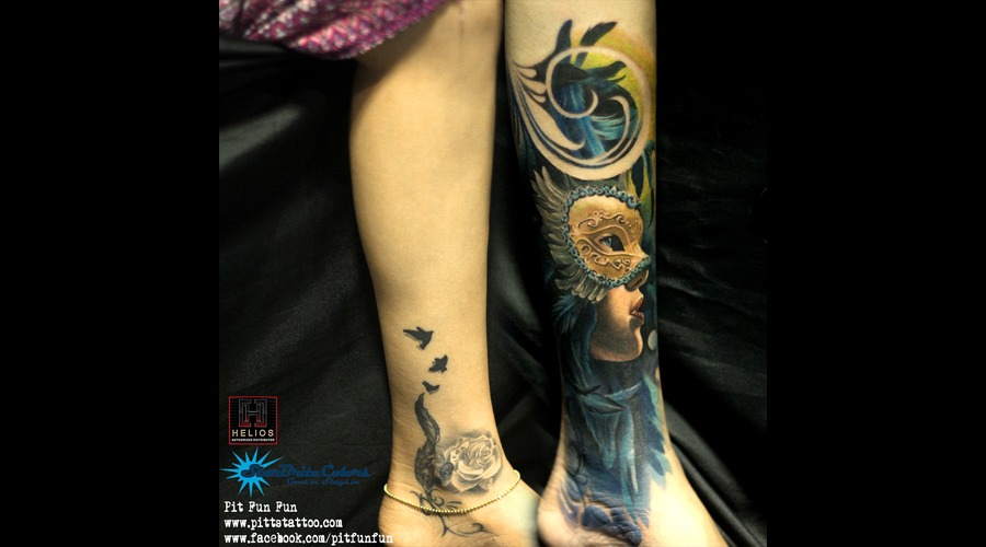 Cover Up Masquerate Color Tattoo  Color Lower Leg