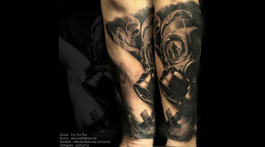 Gas Mask Cover Up Tattoo  Black Grey Forearm