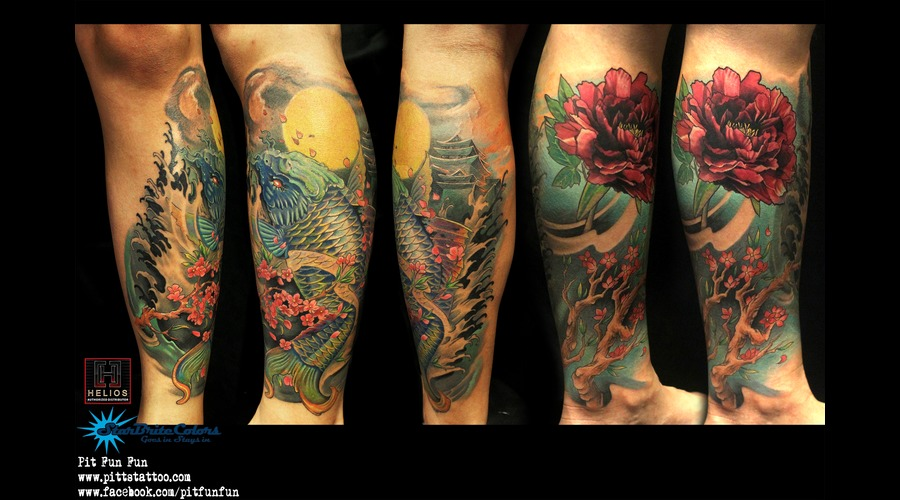 Oriental Koi And Peony Color Tattoo Color Lower Leg