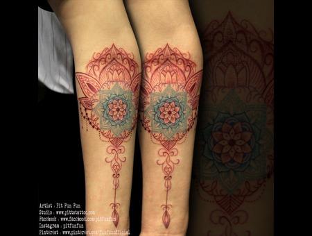 Colorful Mandala Tattoo Color Forearm