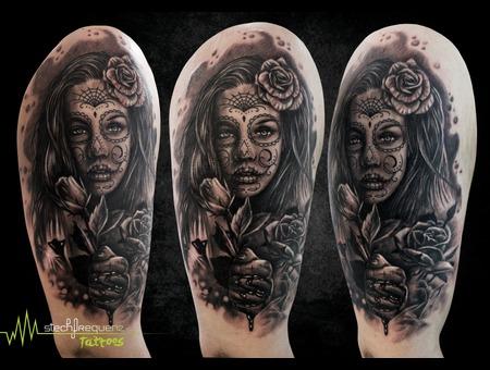 Catrina  Rose  Blood  Realistic Black Grey Forearm