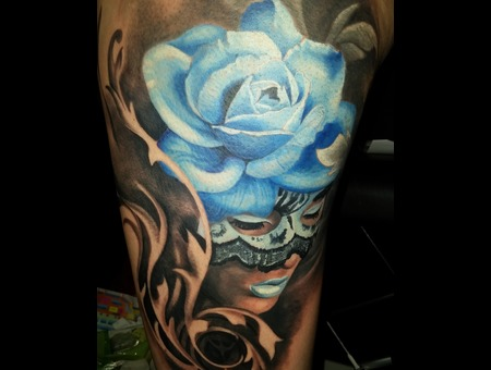 Mask  Lady  Woman  Curls  Swirls  Masked  Rose  Blue  Venetian Color Thigh